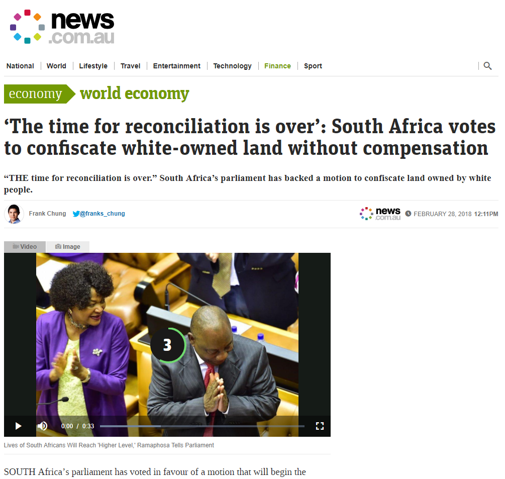 #WhiteGenocide in #SouthAfrica as SA Parliament Justifies Seizing White-Owned Land without Compensation