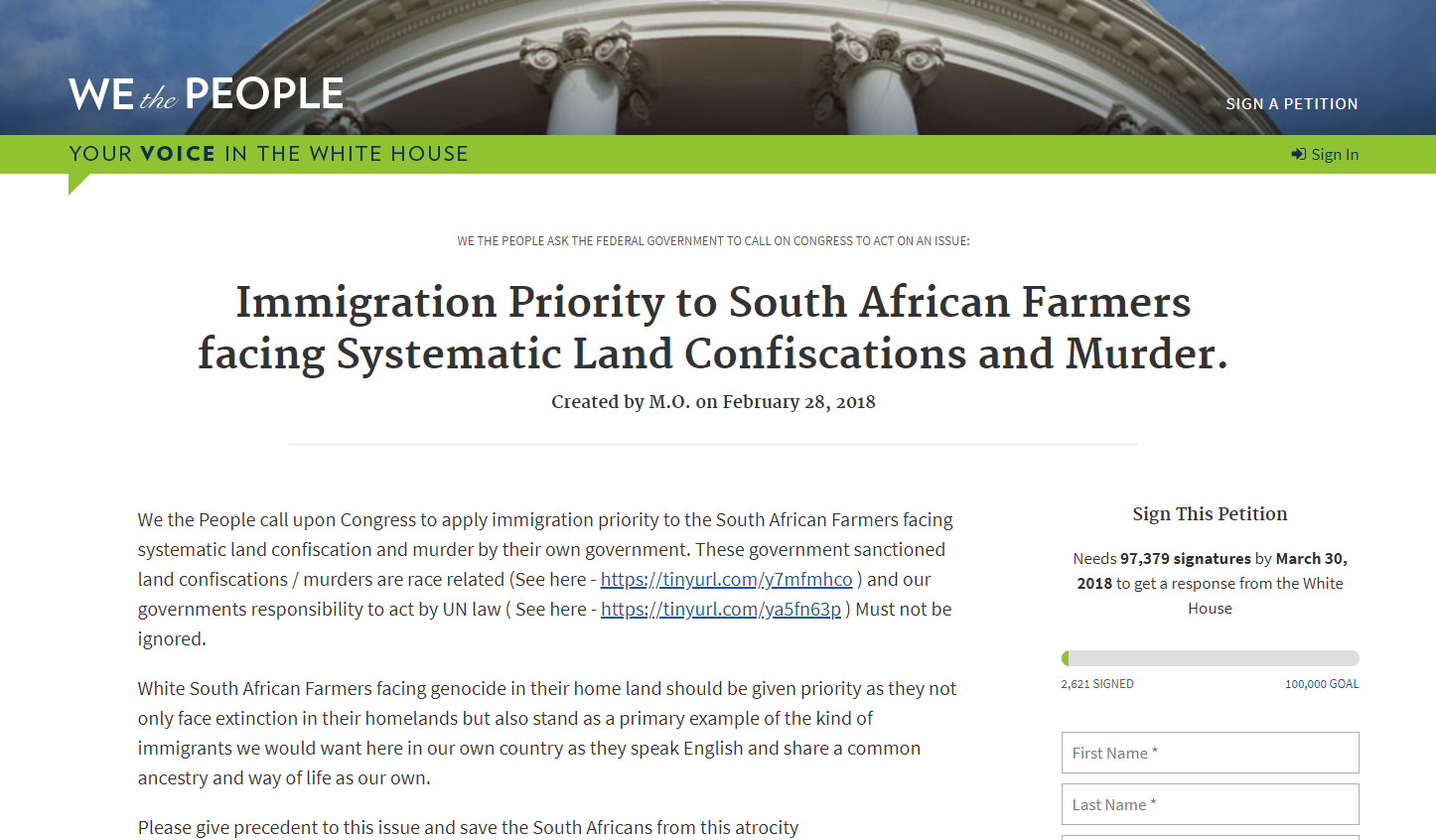 Sign and Share this Petition Asking #Trump for #ImmigrationPriority for #SouthAfrican Farmers. #WhiteGenocide