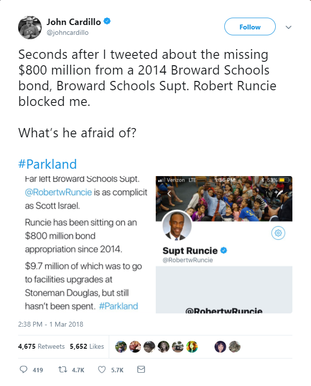 #ParklandShooting Superintendent @RobertwRuncie is as Corrupt as they Come.
