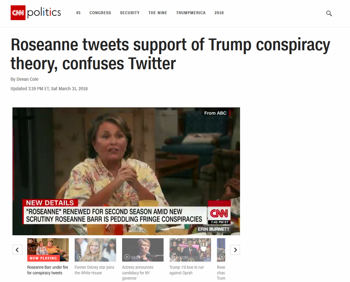 Why Does the #FakeNews Media Suddenly Hate #Roseanne? Because She's Waking People Up to #QAnon. #GreatAwakening