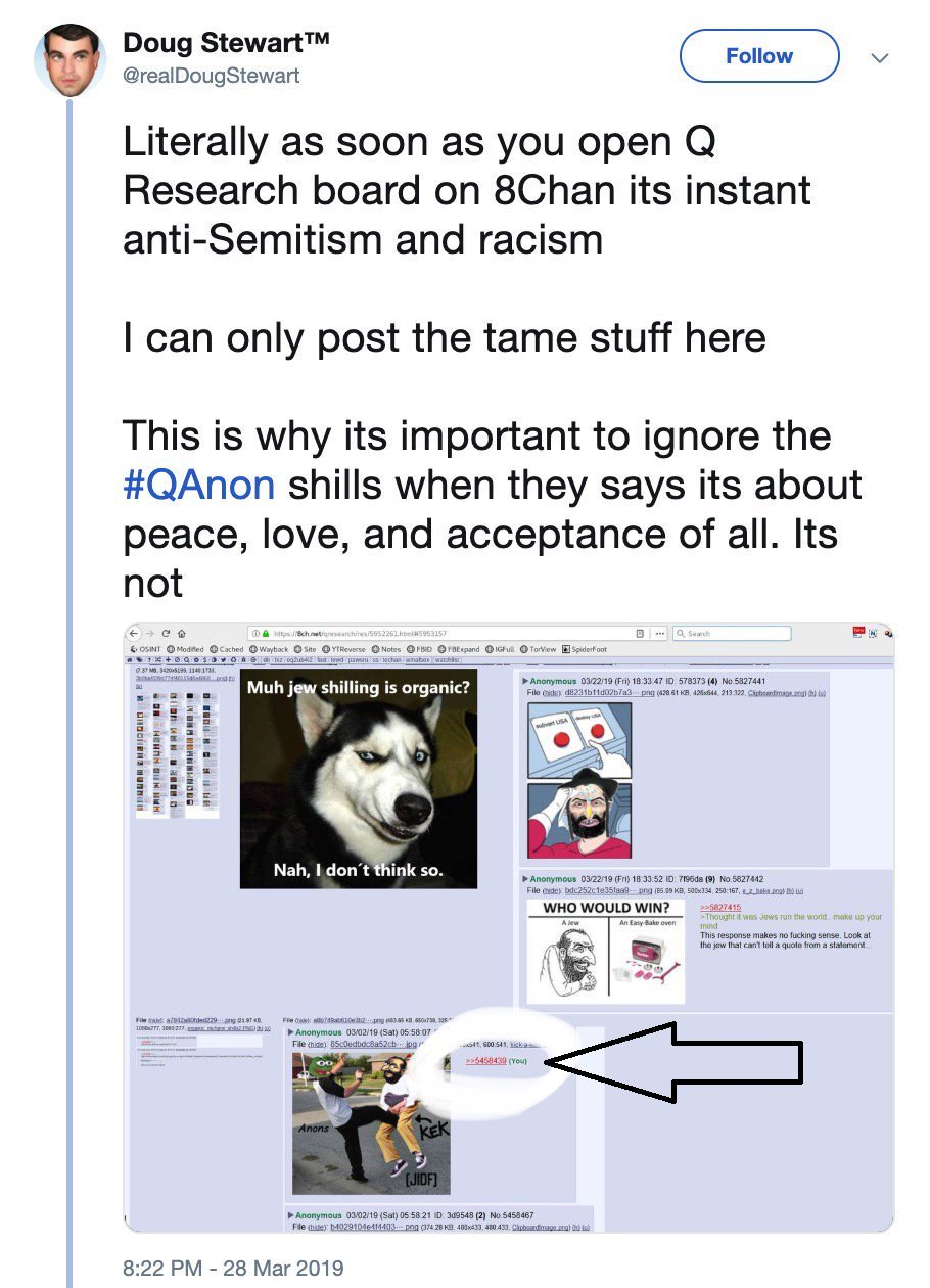 Compulsive Liar @realDougStewart CAUGHT Posting Anti-Semitic Memes and a Photo of Dismembered Child to 8chan, trying to FRAME Anons! #QAnon #GreatAwakening #SloppyJobMossad! #NEONREVOLT